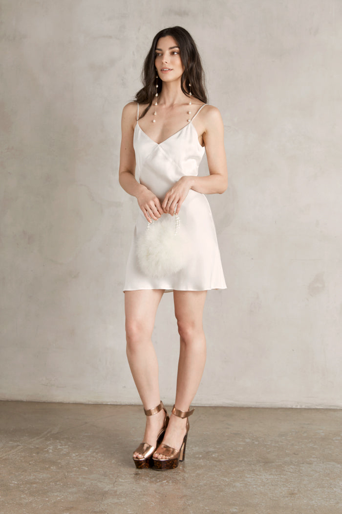 Raquel Bias Cut Silk Dress: Mini Length