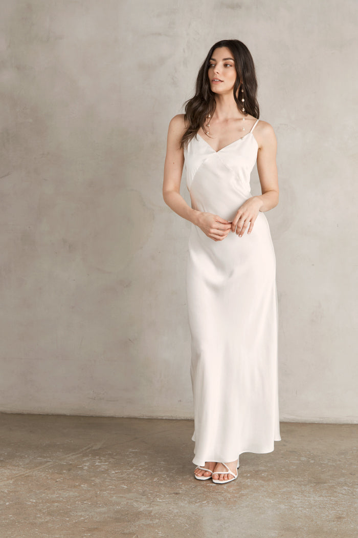 Raquel Bias Cut Silk Dress: Maxi Length