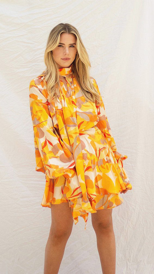 Bradley Dress - Golden Abstract