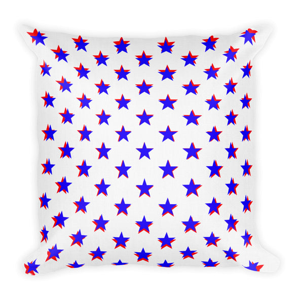 3D Blue And Red Star Burst ~ Premium Pillow