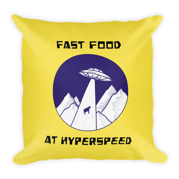 FAST FOOD AT HYPERSPEED ~ Yellow Premium Pillow