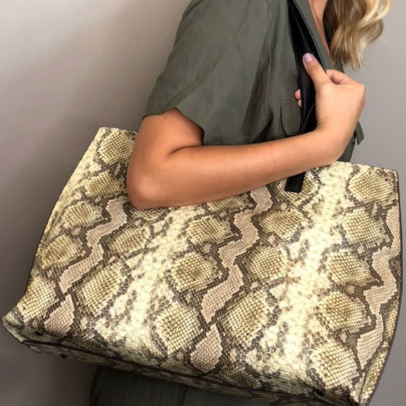Liv Leather Snakeskin Tote