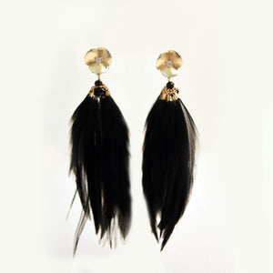 Charlotte Feather & Flower Drop Earrings