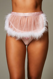 Marabou Feather Skirt and Pink Heart V-String Panty