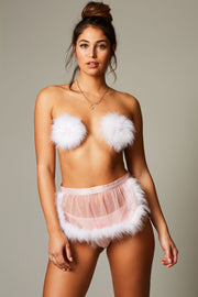 Marabou Feather Skirt, Pink Heart V-String Panty, and Marabou Feather Pasties