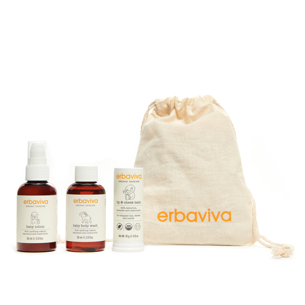 ERBAVIVA - Baby Travel Set - Wash, Lotion & Lip and Cheek Balm