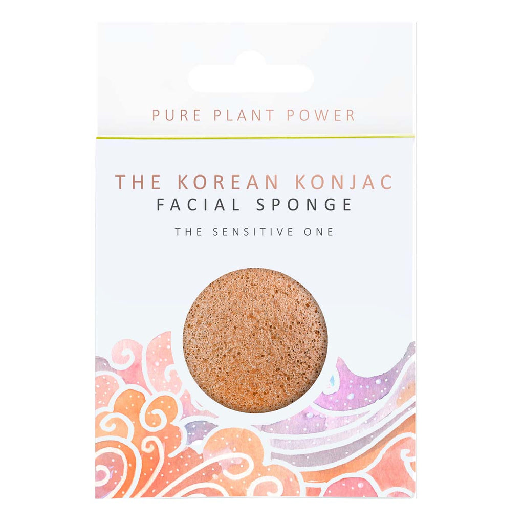 THE KOREAN KONJAC SPONGE - Sensitive Skin Facial Sponge - Pink Clay