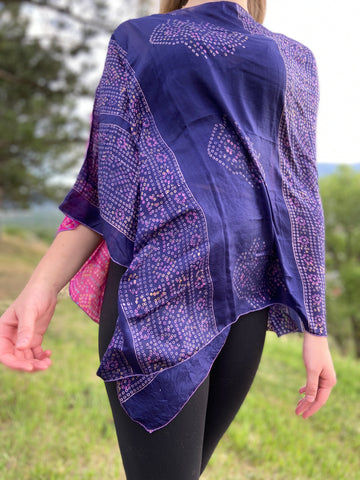 India Silk Sari Ponchos 'Fuschia/Indigo'