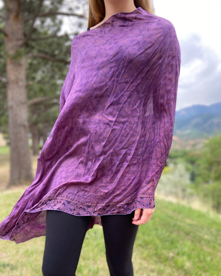 India Silk Sari Ponchos 'Purple'