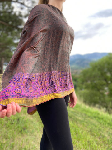 India Silk Sari Ponchos 'Iridescent'