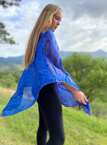 India Silk Sari Ponchos 'Blues'
