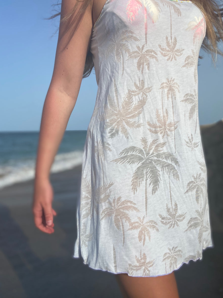 "Beachy Palms Dress ""Blue Hue"""