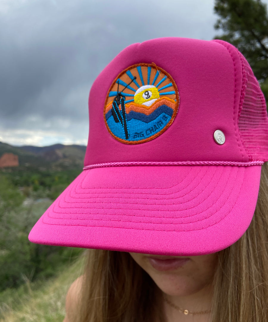 Big Chair 9 Patch Trucker Hat 'Bubblegum Pink'