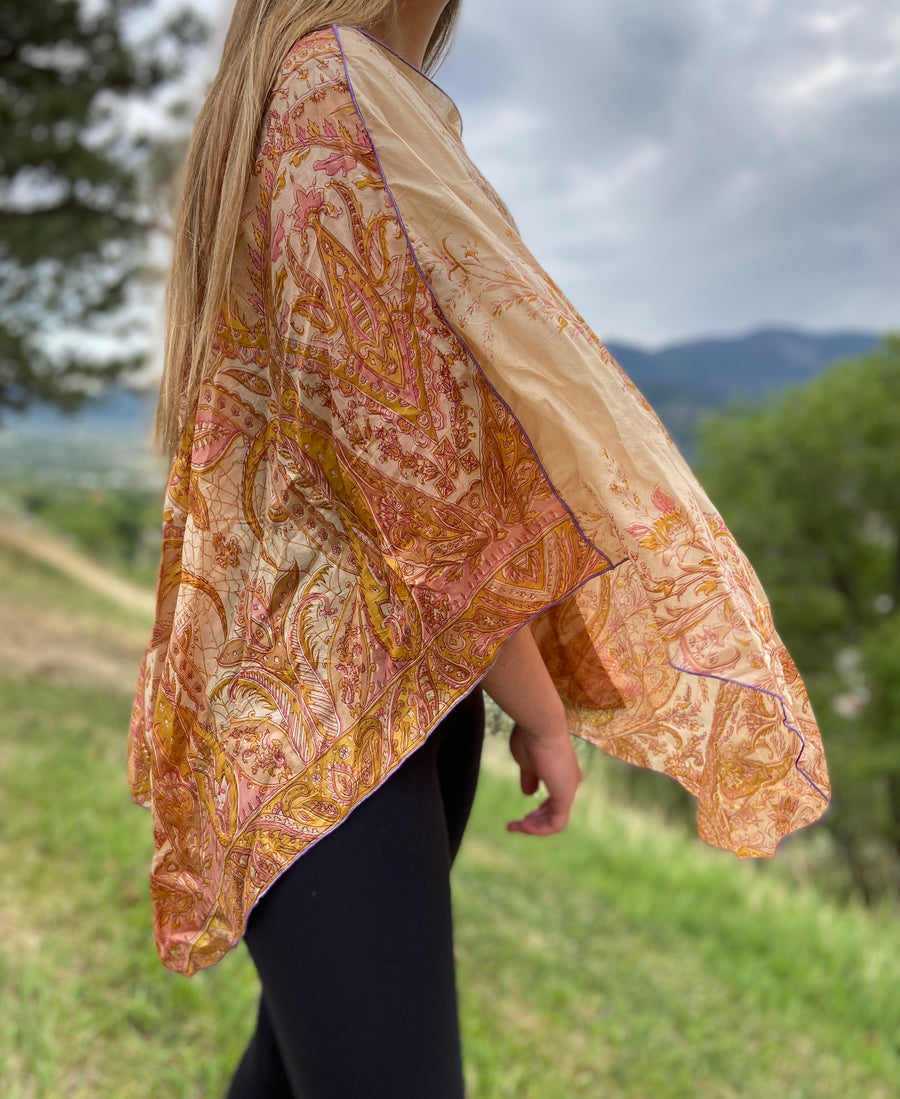India Silk Sari Ponchos 'Earthy'