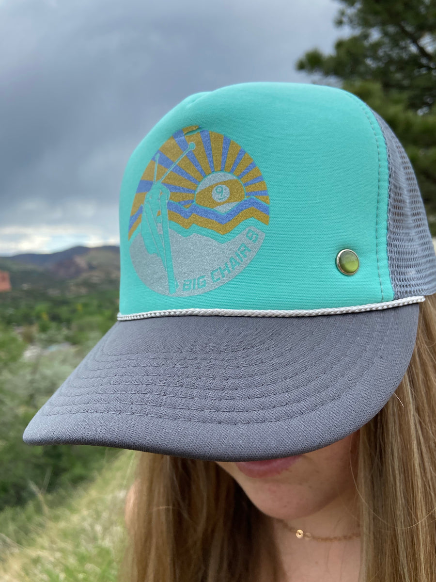 Big Chair 9 Trucker Hat' Aqua/Grey'