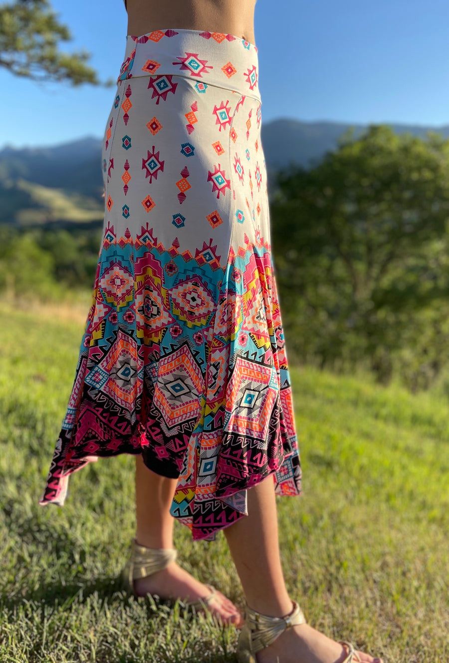 Bella Long Skirt 'Neon Aztec'