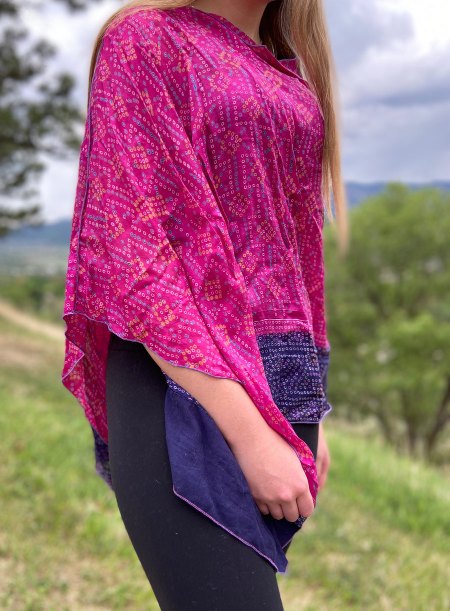India Silk Sari Ponchos 'Fuschia'