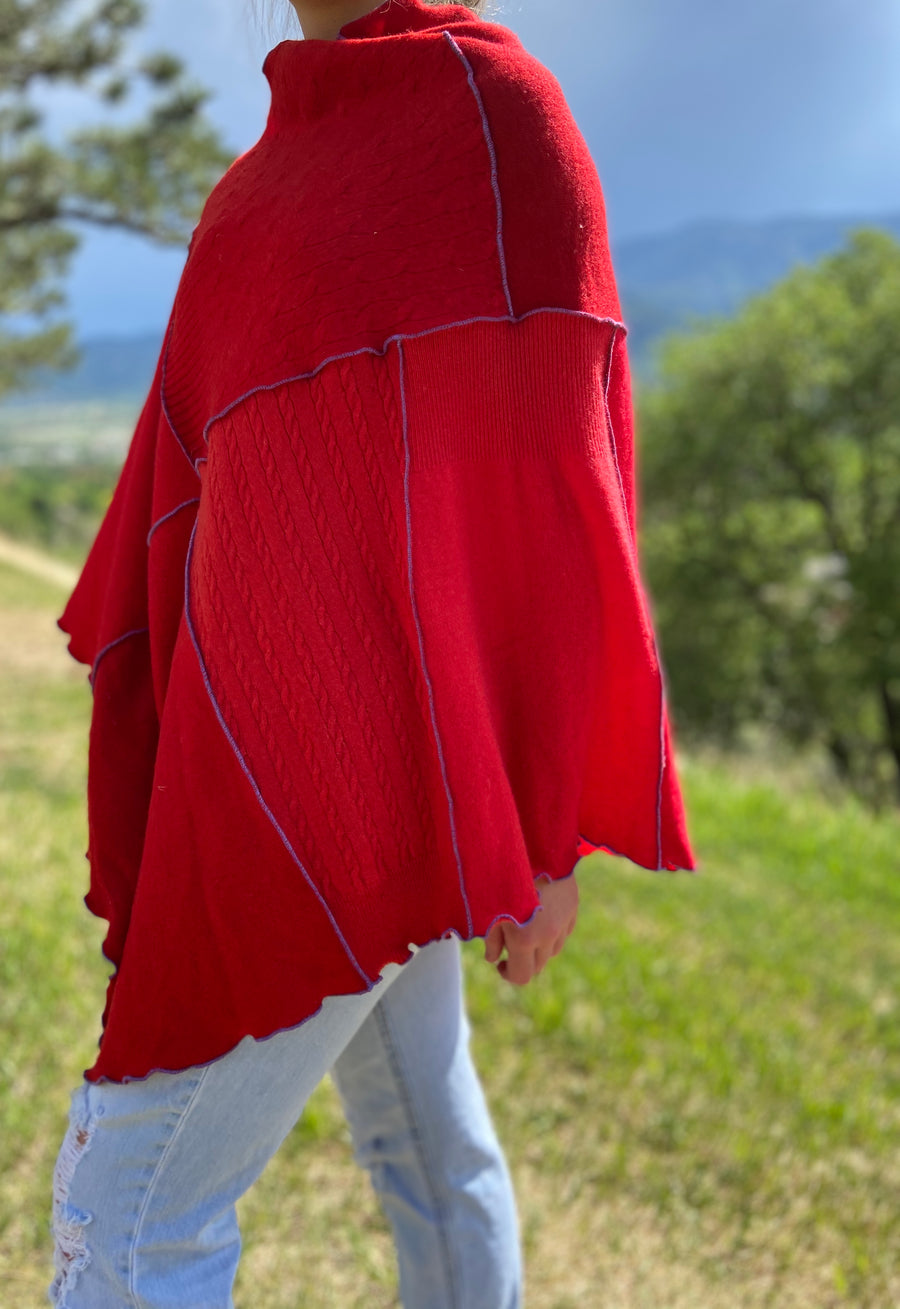 Recycled 100% Cashmere Poncho 'Real Red'
