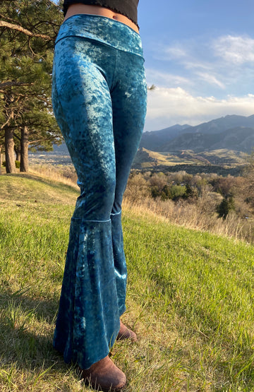 Luscious Velvet Bell Bottoms 'Aqua'