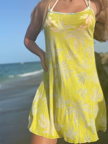 "Beachy Palms Dress ""Chartreuse"""