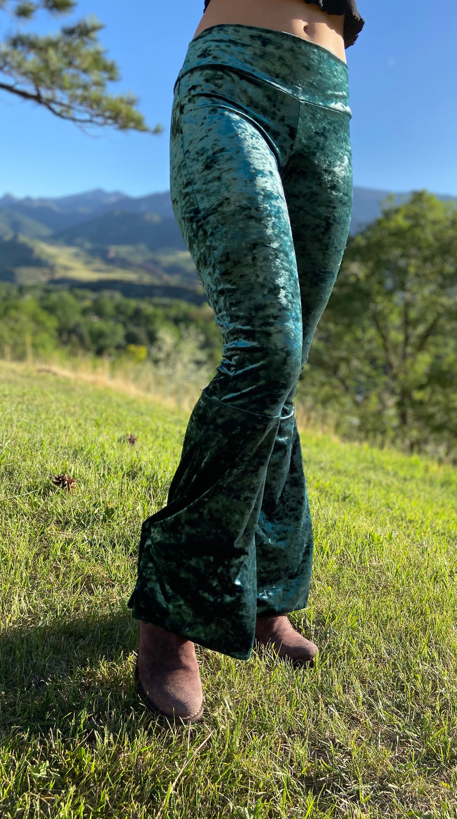 Luscious Velvet Bell Bottoms 'Kelly'
