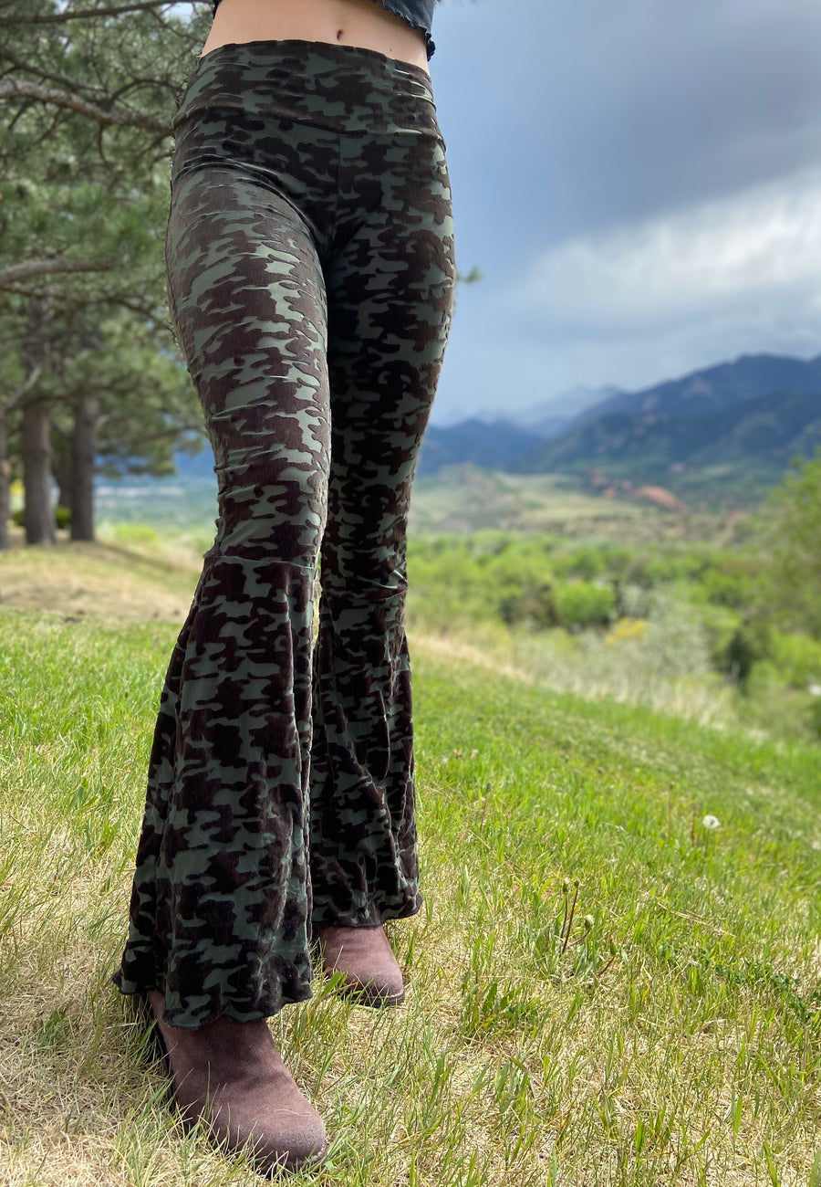 Luscious Burnout Velvet Bell Bottoms  'Camo'