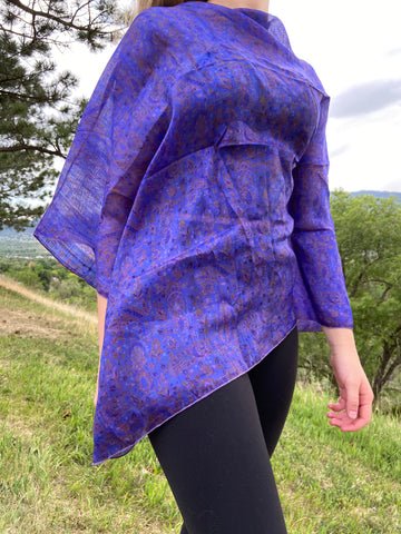 India Silk Sari Ponchos 'Violet'