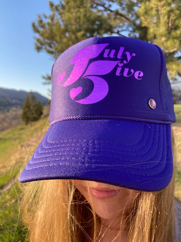 July Five Heart Trucker Hat 'Grape'