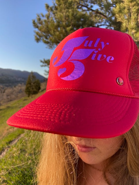July Five Heart Trucker Hat 'Red'