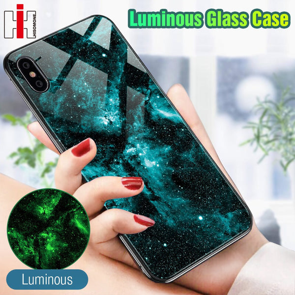 Hisomone Luminous Glass Case For iPhone 7 8 Plus Case Luxury Silicone Cover For iPhone Xs Max Case For iPhone 6 6S 6 S 8Plus X - Mixdias