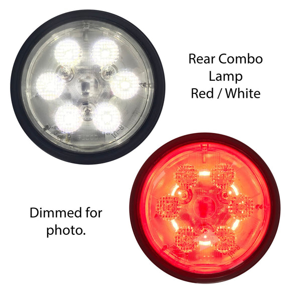 12 Volt LED Rear Combo Lamp, Red/White - Bubs Tractor Parts