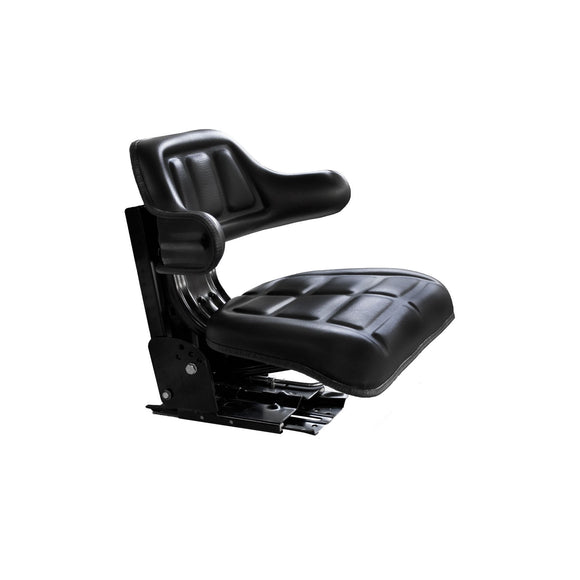Universal Full Suspension Seat w/ Back Rest & 5-Angle Base (w/ Slide Track & Mounting Brackets)