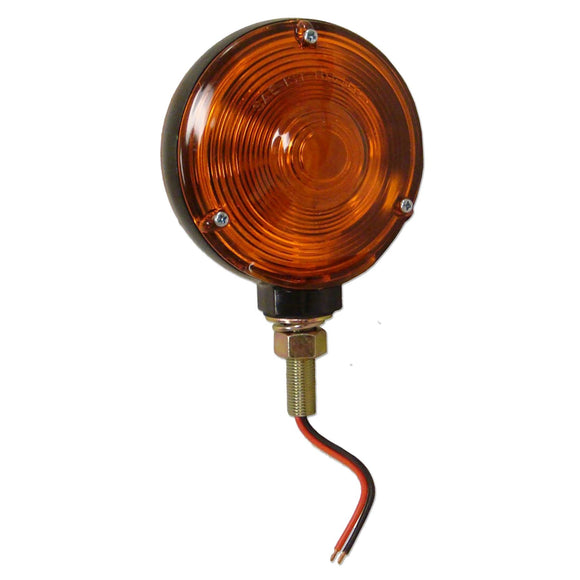 12-volt Fender & Cab Warning Light w/ 2 amber lenses, double contact bulb & black die cast base