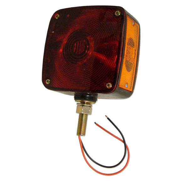 12-volt Fender & Cab Warning Light w/ 1 amber lens, 1 red lens, amber side marker, single contact bulb & black ABS base