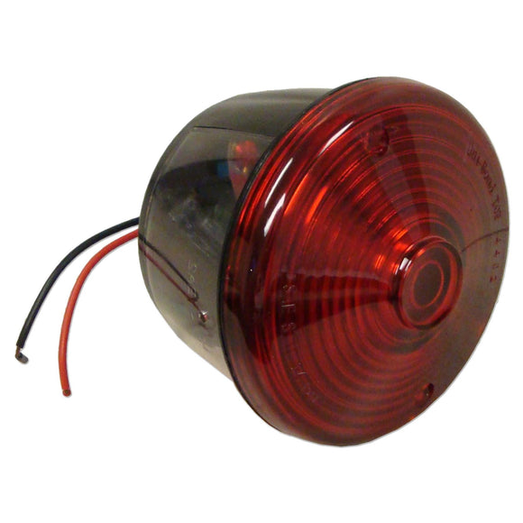12-volt Round Tail Light Assembly w/ licensed lamp window, red lens & black ABS base