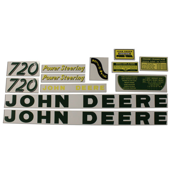 JD 720 Gas: Mylar Decal Set - Bubs Tractor Parts