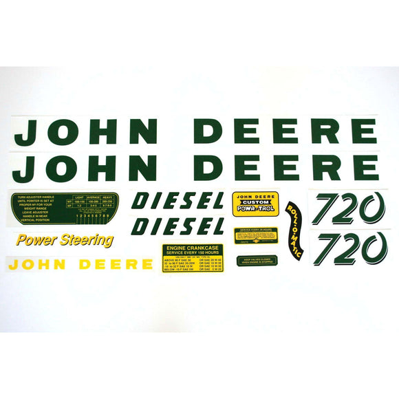 JD 720 Diesel: Mylar Decal Set - Bubs Tractor Parts