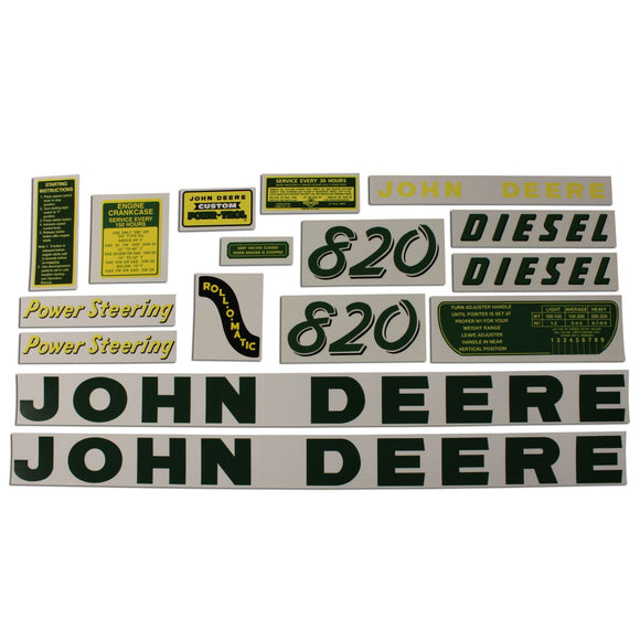 JD 820 Diesel: Mylar Decal Set - Bubs Tractor Parts