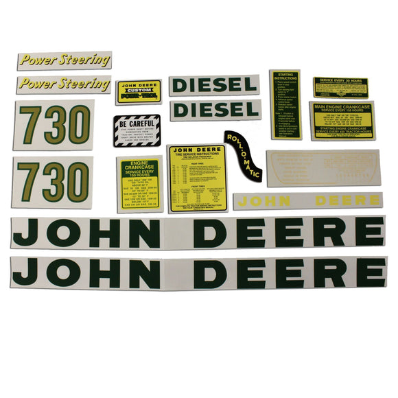 JD 730 Diesel: Mylar Decal Set - Bubs Tractor Parts