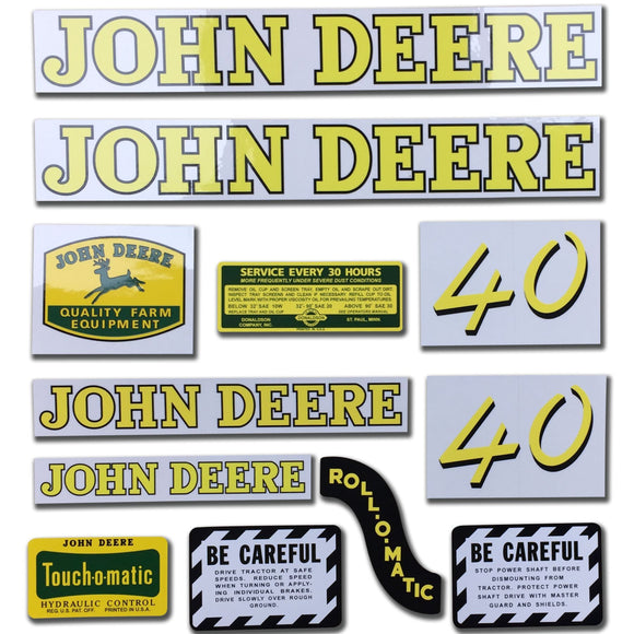 JD 40: Mylar Decal Set - Bubs Tractor Parts