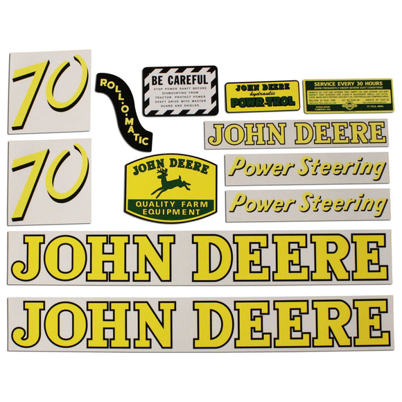 JD 70 Gas: Mylar Decal Set - Bubs Tractor Parts
