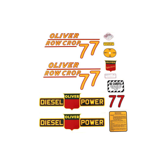 Oliver 77 Rowcrop Diesel: Mylar Decal Set - Bubs Tractor Parts