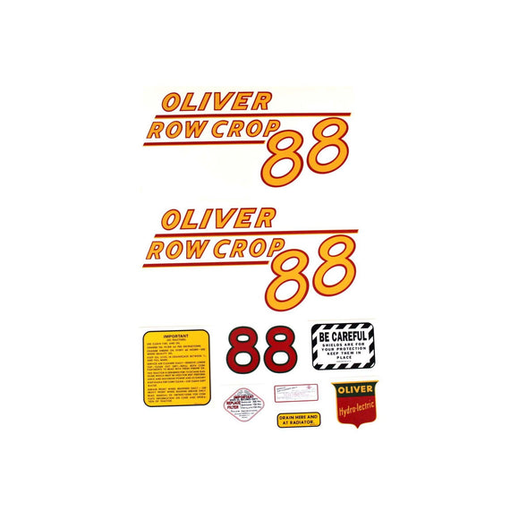 Oliver 88 Rowcrop: Mylar Decal Set - Bubs Tractor Parts
