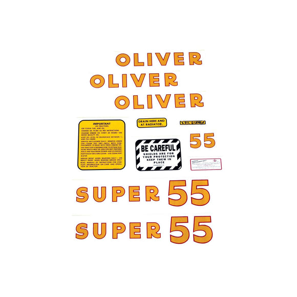 Oliver Super 55: Mylar Decal Set - Bubs Tractor Parts