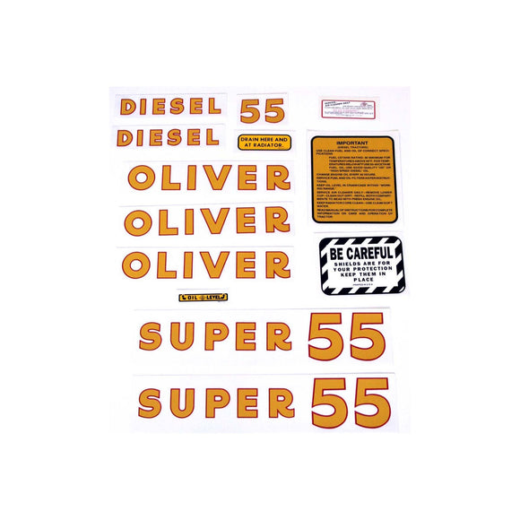 Oliver Super 55 Diesel: Mylar Decal Set - Bubs Tractor Parts