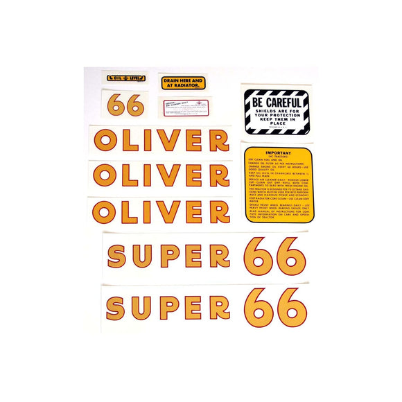 Oliver Super 66: Mylar Decal Set - Bubs Tractor Parts