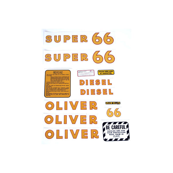 Oliver Super 66 Diesel: Mylar Decal Set - Bubs Tractor Parts