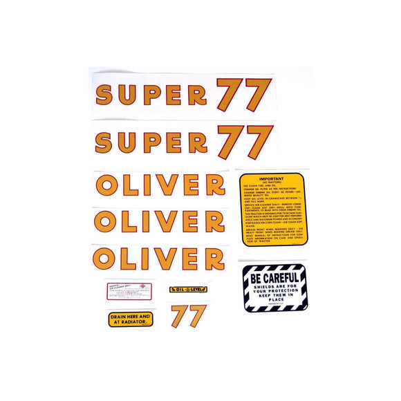 Oliver Super 77: Mylar Decal Set - Bubs Tractor Parts