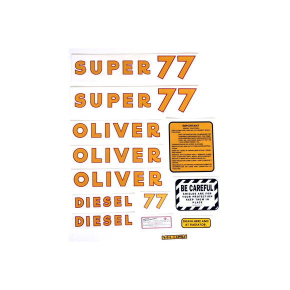 Oliver Super 77 Diesel: Mylar Decal Set - Bubs Tractor Parts