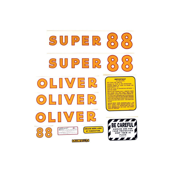 Oliver Super 88: Mylar Decal Set - Bubs Tractor Parts